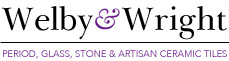 Welby and Wright logo. period, glass, stone and artisan ceramic tiles.
